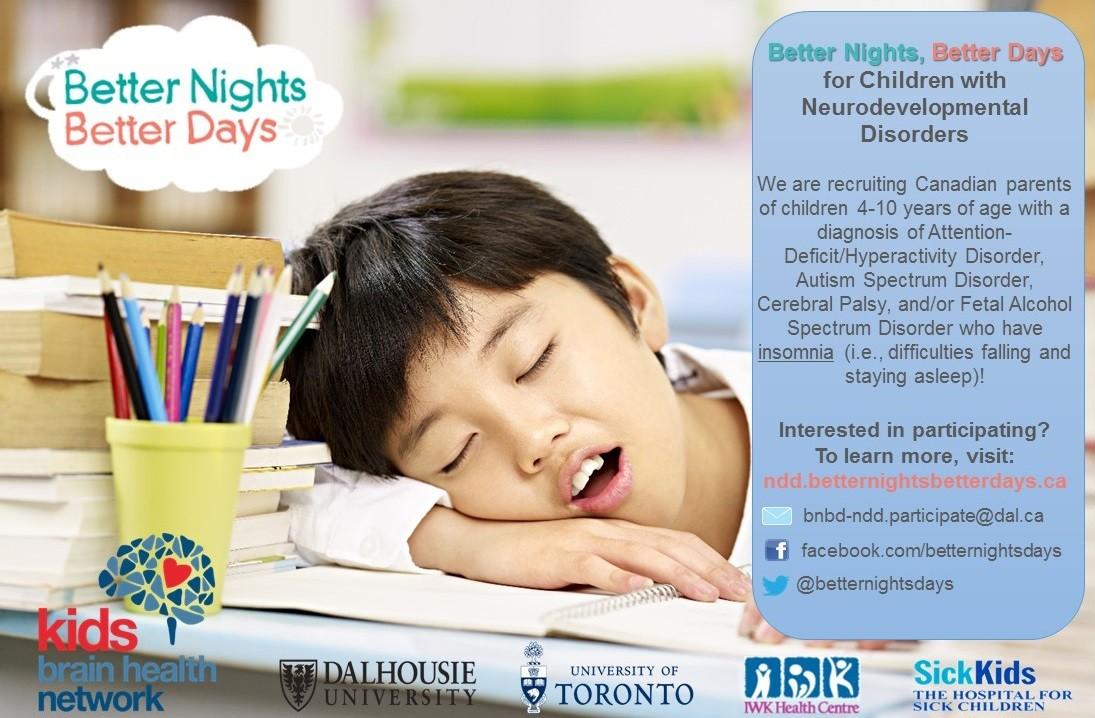 Better Nights, Better Days for Children with Neurodevelopmental Disabilities (BNBD-NDD)